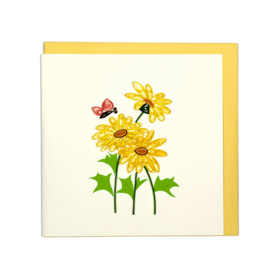 Quilling Card - Yellow Daisies - Blank Card